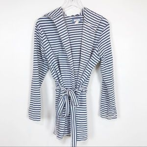 Aerie nautical striped hooded wrap cardigan